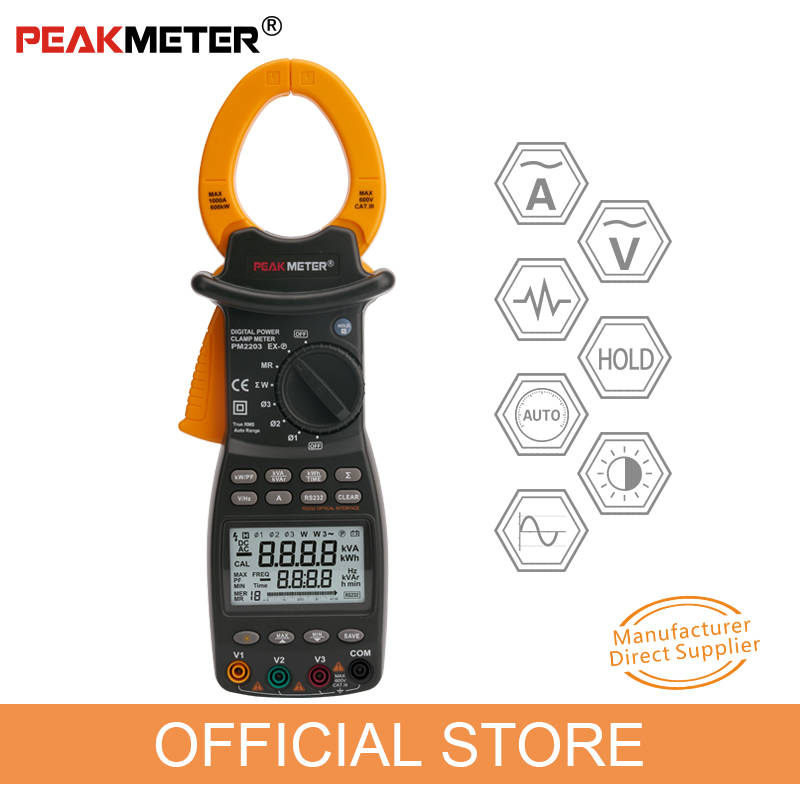 PEAKMETER PM2203 3 Phase LCD Digital Professional High Sensitivity Clamp Power Meter Factor Correction Data Log