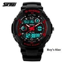 SKMEI 1060 Small Size Clock Men Digital Sport Watch PU Strap Waterproof EL Light Dual Time Display Chronograph Casual Wristwatch