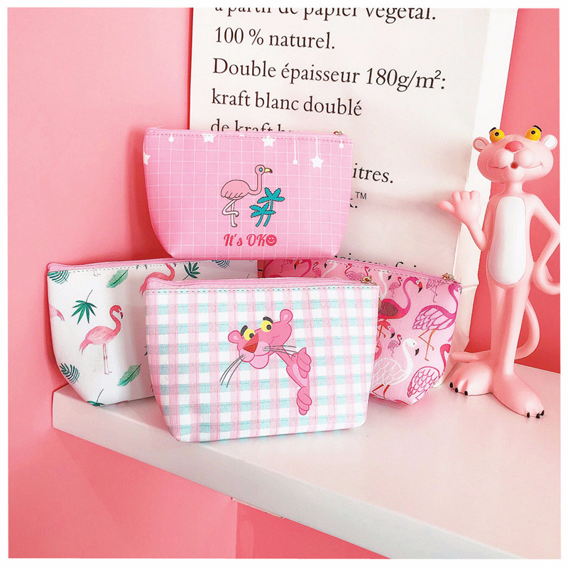 Lovely Girl's Portable Pink Flamingo Leopard Make-up Organizers Travel Storage Bag