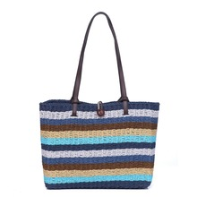 Rattan bag 2019 new color striped womens handbag summer large capacity beach bohemian ins net red female shoulder