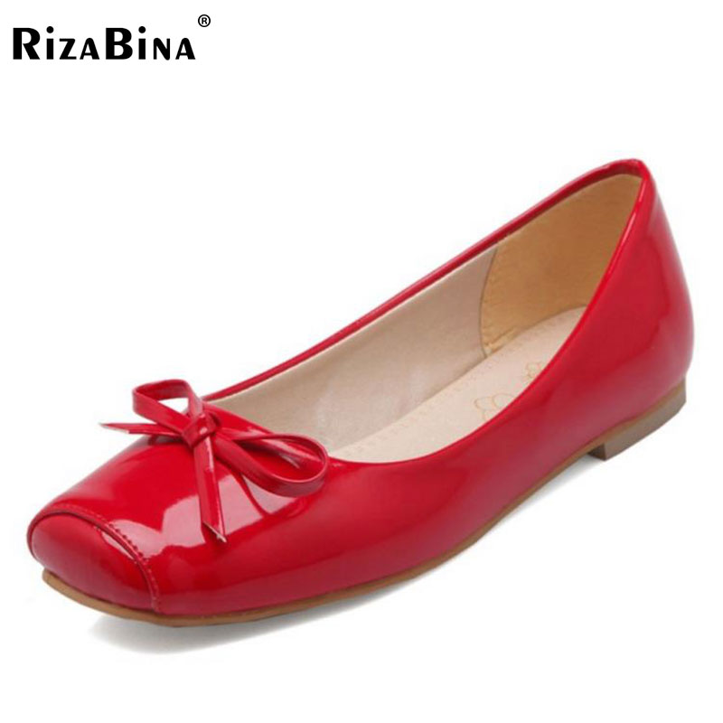 RizaBina Size 30-50 Women Flats Shoes Women Bowtie Square Toe Bowtie Flats Shoes Sexy Party Dating Vacation Office Lady Footwear rizabina concise women sneakers lady white shoes female butterfly cross strap flats shoes embroidery women footwear size 36 40