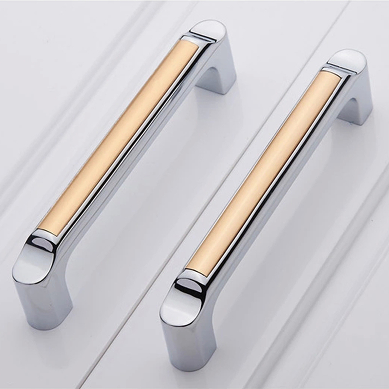 Cabinet Handles Kitchen: 96mm Shiny Silver Champagne Kitchen Cabinet Handles Pulls