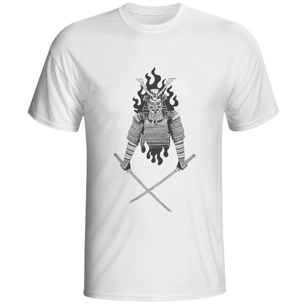 Samurai On Fire T-shirt Japanese Warrior Creative Punk Hip Hop T Shirt Casual Design Cool Women Men Top