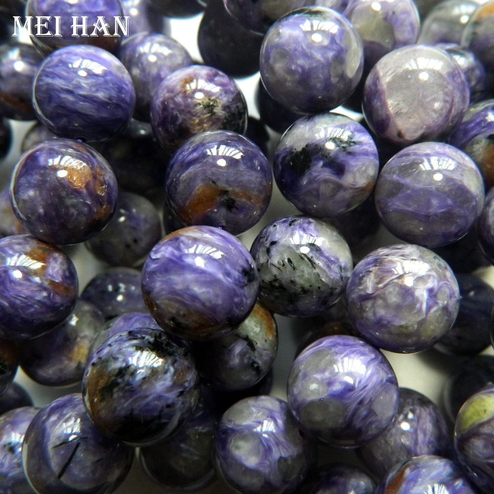 Meihan Free shipping 14beads set natural A 14mm russian Charoite smooth round charm gemstone for jewelry