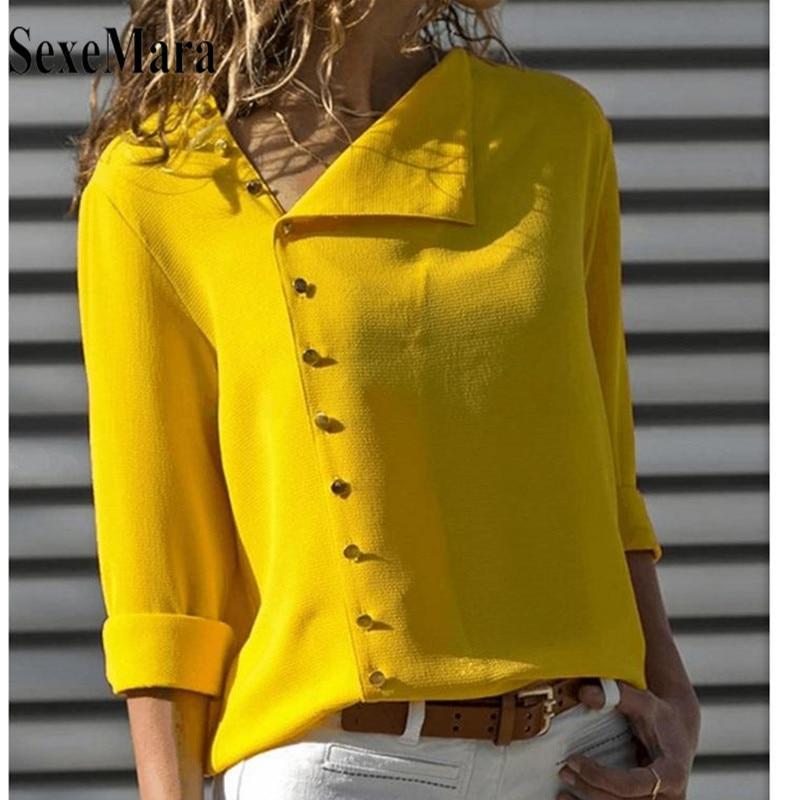 ea05d4a5056 2019 модные и пуговицы с длинным рукавом цвет  желтый