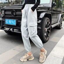 2019 harajuku Cargo Pants Women High Waist Loose Pockets Pan