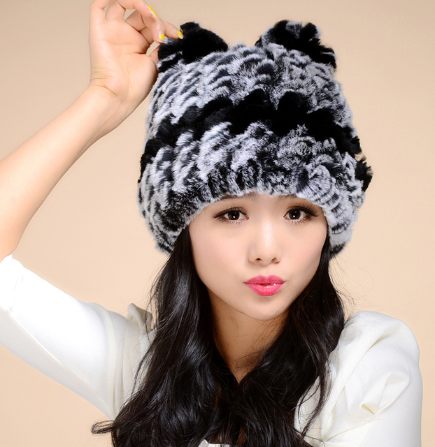 2016 Luxury Lady Real Knitted Rex Rabbit Fur Beanies with Ears Winter  Genuine Women Fur Caps 328cd3e0746f