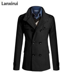 Image 2 - Średni długi płaszcz mężczyźni płaszcz kurtka zimowa mężczyźni wiatrówka gruby jednolity czarny trencz mężczyźni angielski styl kostium