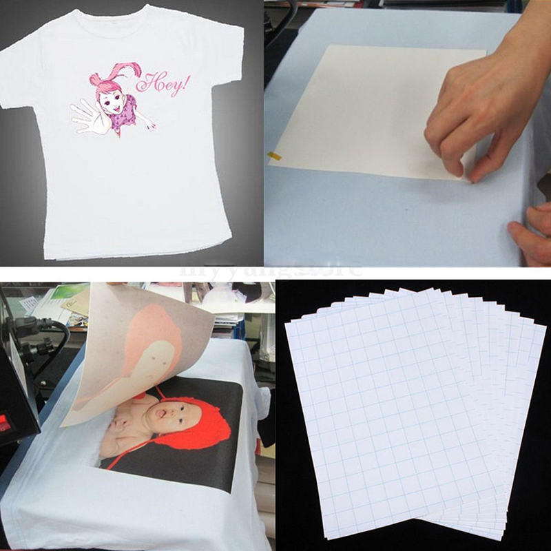 10 sheets a4 size iron on transfer paper inkjet heat for Printer transfer paper for wood