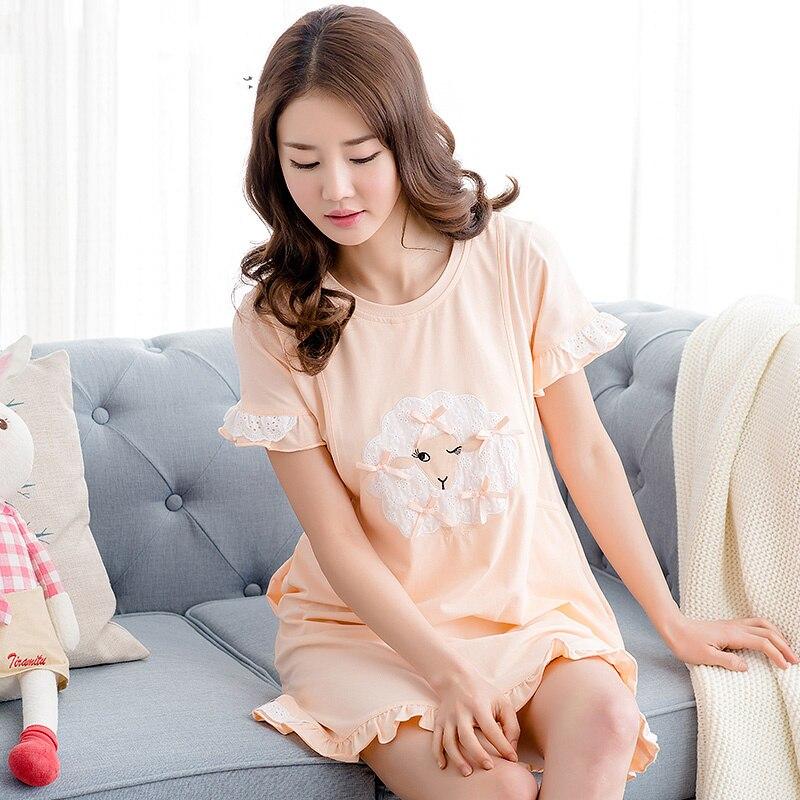 Maternity Women Pyjama Summer Nightdresses Maternite Homewear Feeding Pregnancy Womens Kee Length Summer Pajamas 50M076