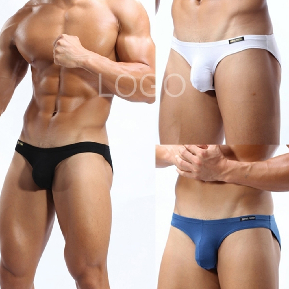 Men's underwear cotton sexy front convex men's briefs comfortable breathable elastic bag hip quality cotton underwear