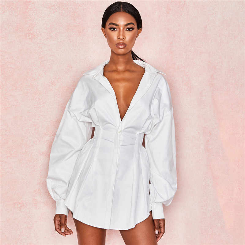 Women Solid Color Deep V Pleated Waist Sexy Shirt Dress Female Lantern Sleeve Sheath Mini Dress Women Sexy OL Style V-neck Dress