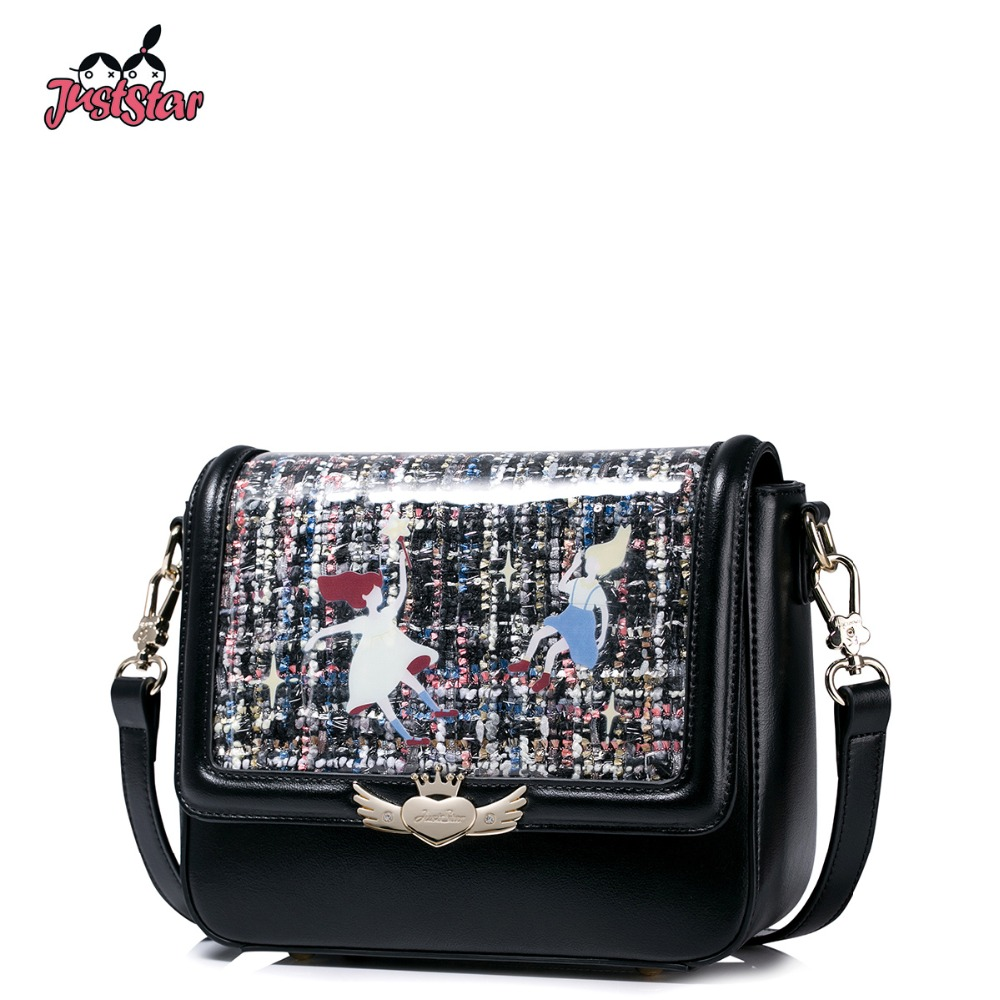 JUST STAR Women's PU Leather Messenger Bags Ladies Leisure Shoulder Purse Female Small Cartoon Flap Crossbody Bags JZ4181 just star women s pu leather messenger bags ladies embroidery shoulder purse female chain leisure whale crossbody bags jz4468