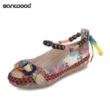 6019d1ad418e5b Newest Women Ethnic Lace Up Beading Round Toe Comfortable Flats Colorful  Loafers Shoes