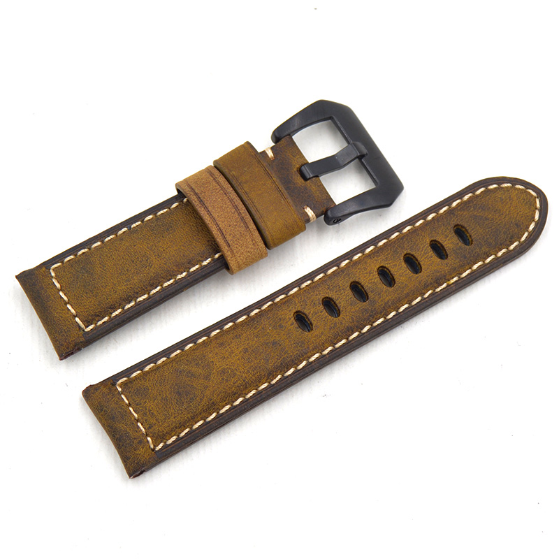 22mm 24mm 26MM high quality Handmade Vintage Genuine Leather Watch Band Strap Watchband Straps for Omega Fossil For Panerai PAM lukeni 24mm camo gray green blue yellow silicone rubber strap for panerai pam pam111 watchband bracelet can with or without logo