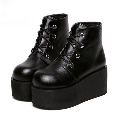 b9c65a0c98ee Women s Black Punk Gothic Buckle Strap Chunky Heels joelho thick heeled  Platform Ankle Boots
