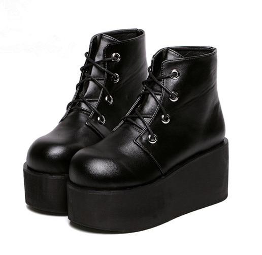 c8283399f62 Women s Black Punk Gothic Buckle Strap Chunky Heels joelho thick heeled  Platform Ankle Boots