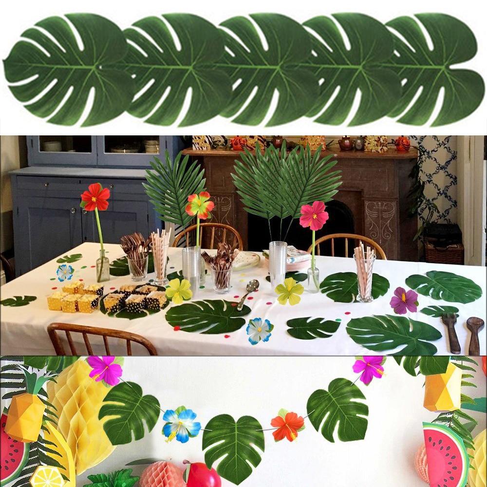 12pcs fabric artificial palm leaves tropical hawaiian luau party jungle beach theme party table - Deco table jungle ...