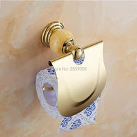 Free Shipping 2 Pcs Promotion Royal Wall Mount Gold Plating Toilet Roll Paper Holder Jade Tissue