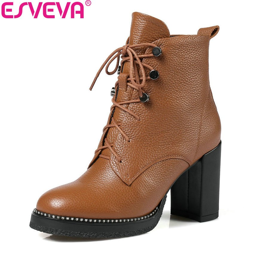 ESVEVA 2018 Women Boots Synthetic/PU Ankle Boots Round Toe Square High Heels Cow Leather+PU Zippers Boots Women Shoes Size 34-39 esveva 2018 women boots zippers black short plush pu lining pointed toe square high heels ankle boots ladies shoes size 34 39 page 2