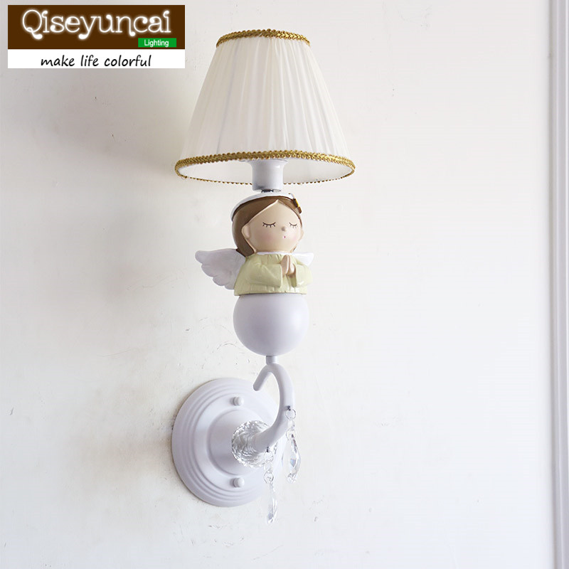Qiseyuncai American Children's Room Blessing Angel Wall Lamp Princess Room Boy Girl Bedroom Bedside Lamp free shipping qiseyuncai children s room england soldier bear legion wall lamp boy girl bedroom soft decoration lighting free shipping