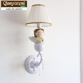 Qiseyuncai American Children's Room Blessing Angel Wall Lamp Princess Room Boy Girl Bedroom Bedside Lamp free shipping