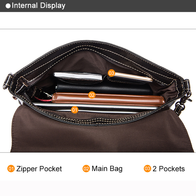 Messenger Bag Men Genuine Leather Men's shoulder bags male Casual Zipper Crossbody Bags for men handbags 4