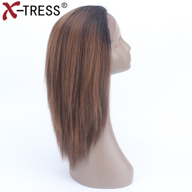 X-TRESS 18 Straight Lace Front Wigs With Baby Hair Ombre Heat Resistant Fiber Glueless Free Part Short Synthetic Wigs For Women