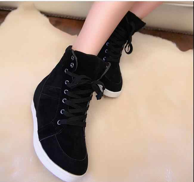 New Autumn High Top Women boots spring Winter Hidden Heel Platform Wedge Casual Shoesred black fashion Women Shoes