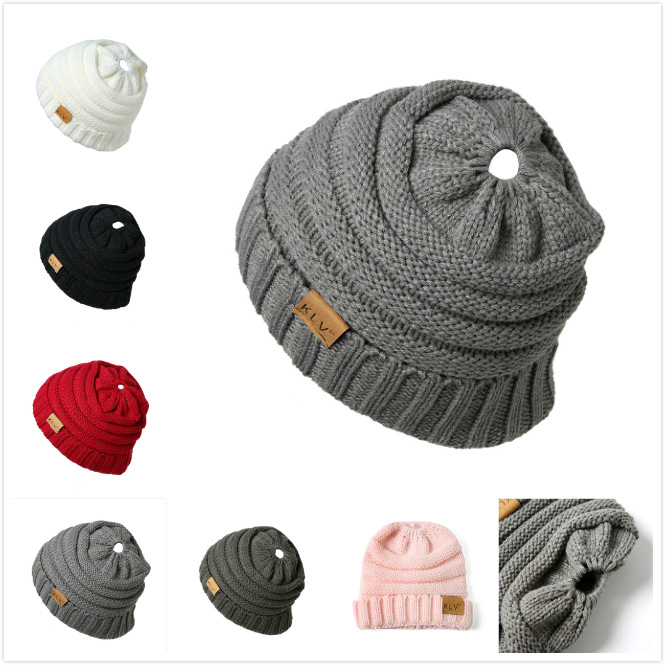 Winter Messy Bun Hat Women Hat Ladies Girl Stretch Knit Hat Messy Beautiful Bun Ponytail Beanie Holey Crochet Warm Hats Caps
