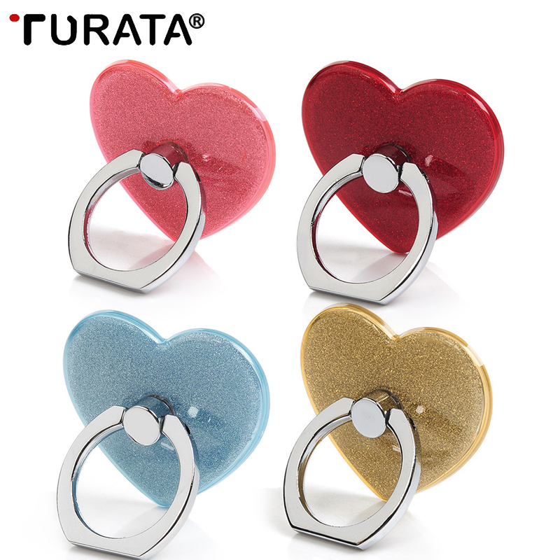 Turata 360 Degree Finger Ring Heart Diamond Ring Mobile Phone Smartphone Stand Holder For Iphone 7 Samsung Huawei Car Mount Grip 50% OFF Mobile Phone Holders & Stands