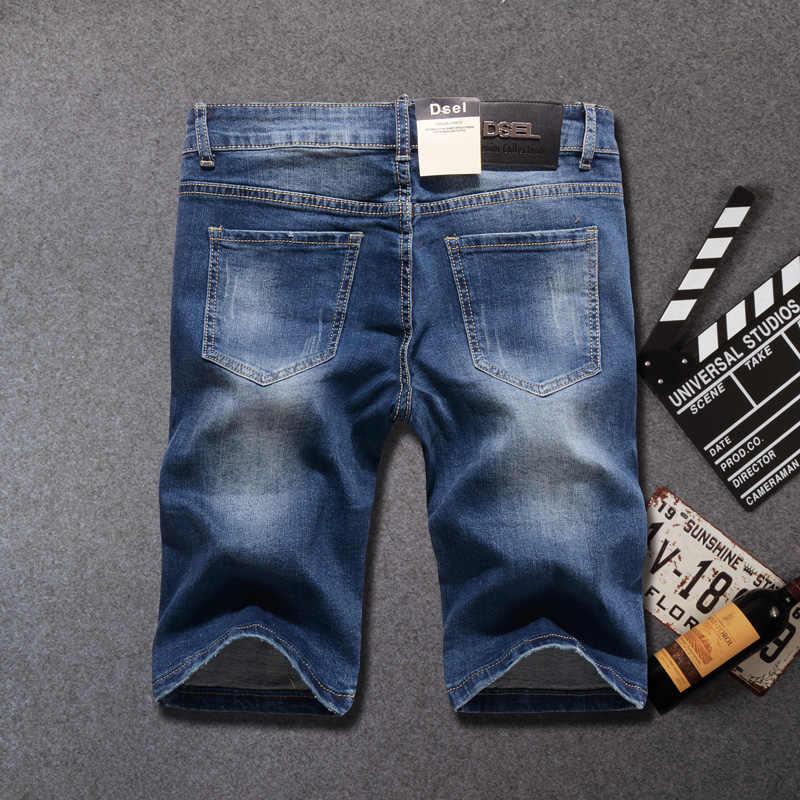 Zomer Fashion Jeans Shorts Elastische Korte Ripped Jeans Homme Knielengte Streetwear Punk Stijl Hip Hop Denim Shorts mannen