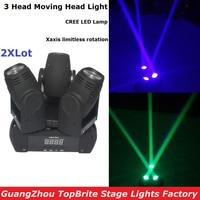 2XLot High Quality NEW 60W 3 Heads Moving Head Wash Light Mini LED 3X10W RGBW 4IN1