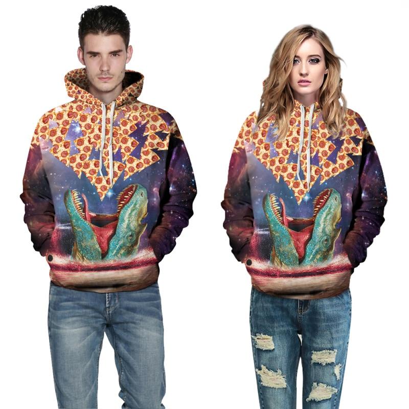 F1500 Funny Hoddies/Sweatshirts 2016 Winter New Style Mens Hooded Sweatshirts 3D Animal Print Tops Men