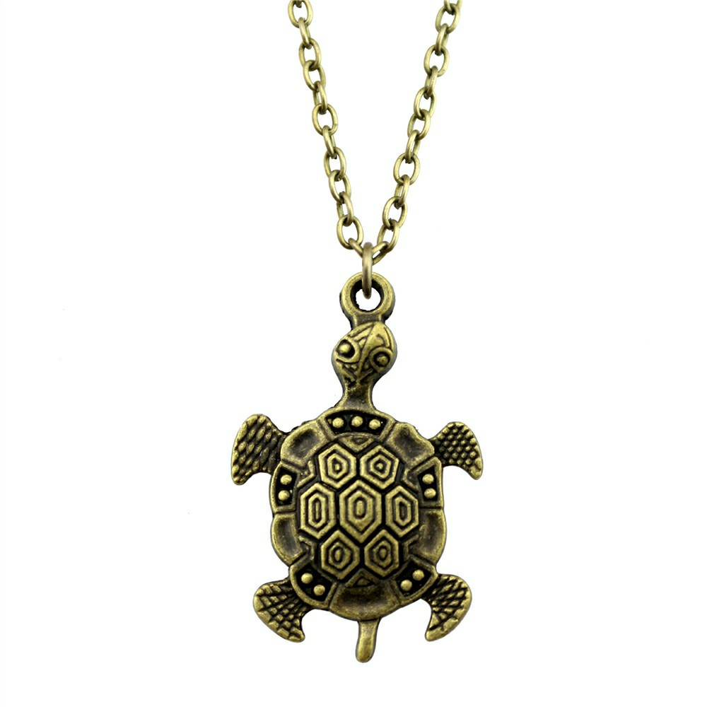 2019 Fashion 2 Colors Antique Bronze Antique Silver Plated 45x28mm Tortoise Pendant Necklace Female Jewelry Necklace