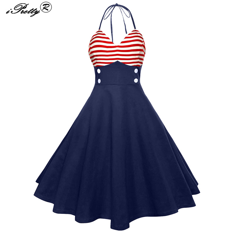 5e997b63bd14 Vintage Red Strip V Neck Halter Sleeveless Women Dress Retro 50s 60s Button  Rockabilly Robe Casual Pinup Party Picnic Dress free shipping worldwide