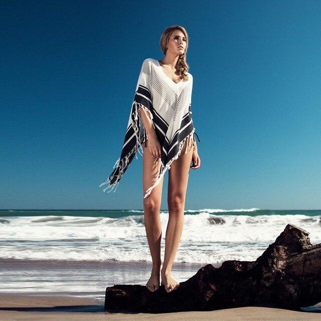 Strand Poncho Cover Up Haak Badmode Dames Pareo Strand Cape Robe De