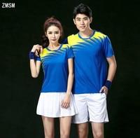 ZMSM 2017 Short Couples Men & women Tennis Shirts shorts and skirts Badminton Table Tennis Jerseys O neck Sports suit NM5063