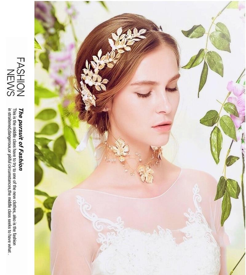 Pearl Crystal Gold Leaves Vine Wedding Headband Hair Accessories Bridal Headwear Hair Jewelry Rhinestone Head Chain Headpiece in Hair Jewelry from Jewelry Accessories