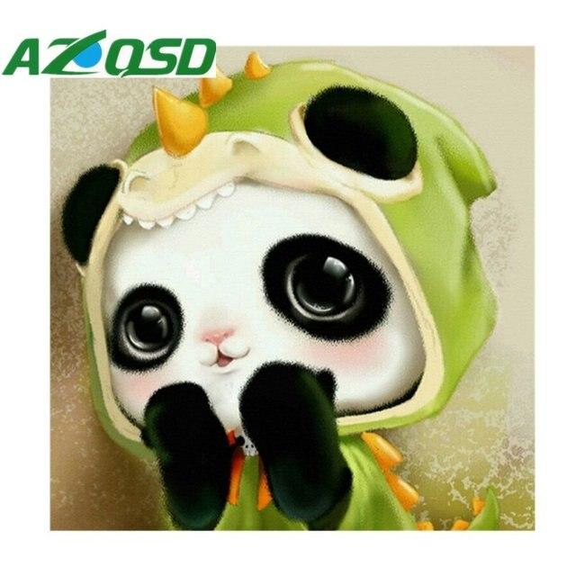 AZQSD DIY Diamond Painting Cartoon Panda Of Home Decor Embroidery Painting  100% Round Diamond Mosaic