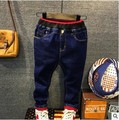 kids winter boys jeans PANTS BOY trousers KIDS solid color jeans denim and fleece warm navy blue children new autumn trousers
