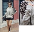 30pcs one package wholesales Popular HOT Sexy Fashion Girls women ladies Tops Tees Casual Leopard splicing T-shirt