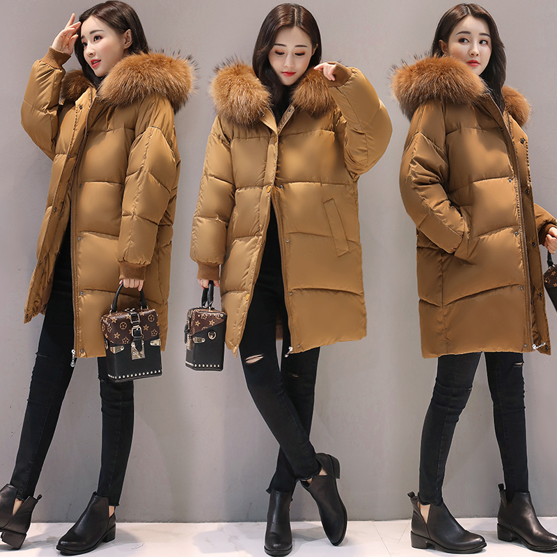 RYTISLO New Winter Long Women Parka Coat Jacket Faux Fur Collar Hooded Female Casual Thick Warm Solid Coat Cotton Padded mikialong hooded fur collar women parka 2017 thick warm long padded winter jacket women solid oversized cotton quilted coat