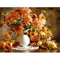 2015 DIY Frameless Pictures Paint By Numbers Digital Oil Painting On Canvas handwork gift set of flower and apple G011