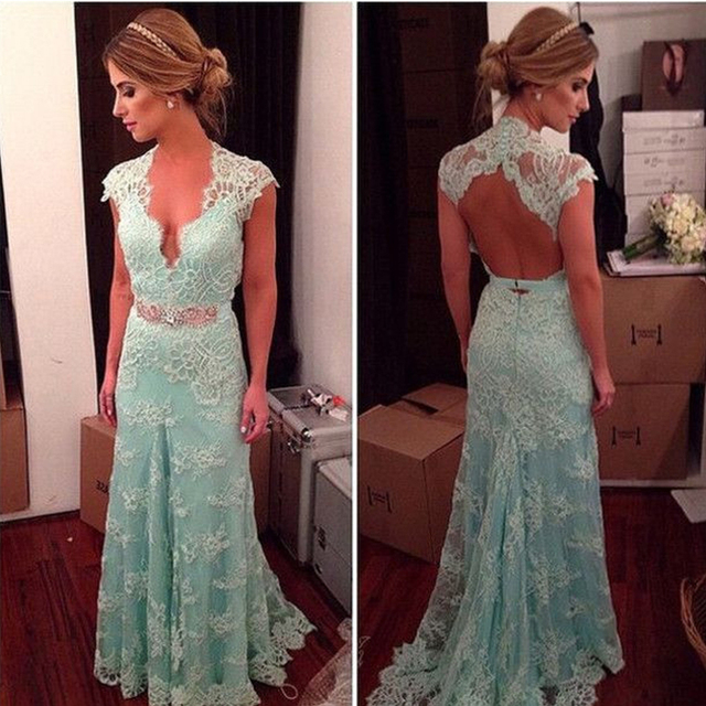 vintage aqua blue long Bridesmaid Dresses 2016 v neck hollow lace appliques  women formal guest dress for wedding party ab2b8ce1a