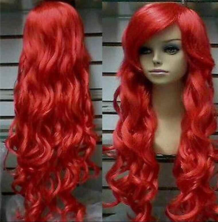 Парик Новый парик термостойкий косплей длинный кудрявый красный термостойкий парик Бесплатная доставка
