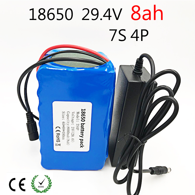 24V 8ah Lithium Ion Battery 29.4V 8000mAh 15A BMS 250W 24V 350W Battery Pack for Wheelchair Electric Motor Kit Electric Power цена