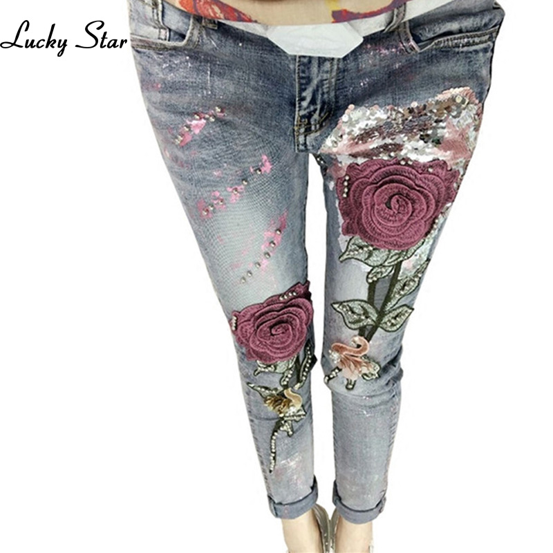 Lucky Star Autumn Stretch Flare Jeans 3D Flower Sequin Beading Embroidered Rose Jean Fashion Female Jeans Long Trousers C029 эхолот lucky ff718 li d