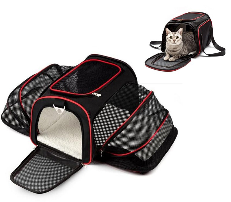 Expandable Pet Dog Carrier Car Travel Bag Oxford Breathable Cat Carrier Airline Portable Backpack