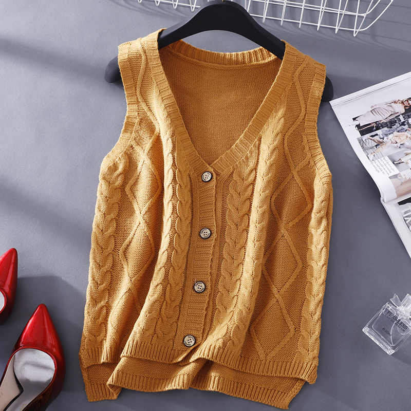 5975f36f0e5608 ... Ynncnik Cardigans Women Students Knitted Vest V-neck Sleeveless  Irregular Twist Sweaters Fall Casual Solid ...
